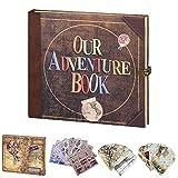 LINKEDWIN Nuestro libro de aventuras, diario de viaje, diario vintage, álbum de fotos Retro UP Scrapbook, regalos de boda y aniversario (Up House)