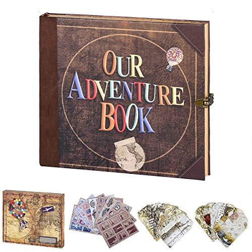 LinkeDWIN - Diario de viaje con libro de aventuras, diario vintage, diario de recortes, diario de billetes, diario de recuerdo de estilo retro para viajes, jubilación,...