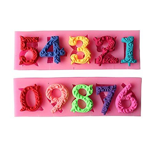 Joinor 3D-Geburtstagskuchen-Zahlen, von 0 bis 9, Silikonform mit eingesetztem Loch, Fondant-Kuchendekoration, Kuchendekoration