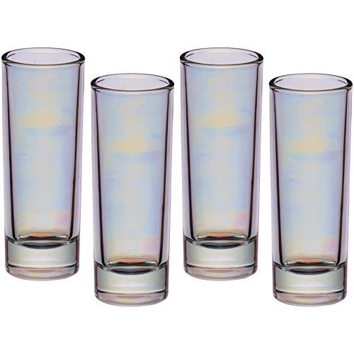 BarCraft Vasos de Chupito Altos, Multicolor (Iridescent), 3.9 x 3.9 x 10.4 cm, 4 Set