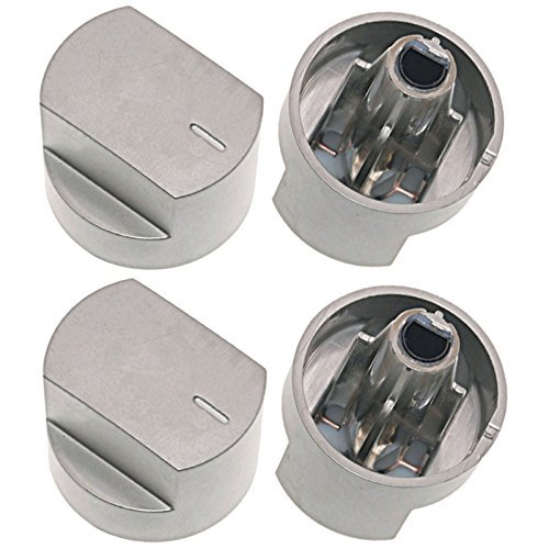 SPARES2GO Control Knob Switch & Shaft for Stoves 61EDO 61EHDO BL ST WH Oven Cooker Hob (Silver, Pack of 4)