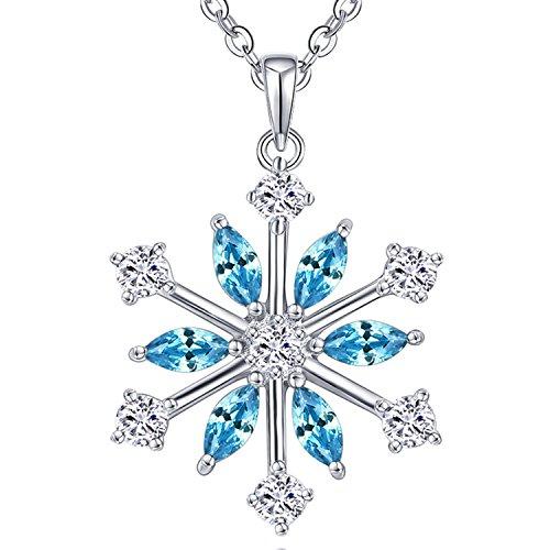 JO WISDOM collar colgante copo de nieve plata de ley 925 cristales swarovski mujer joyería,Regalo de Navidad