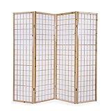 Homestyle4u 75, Paravent Raumteiler 4 teilig, Holz Natur, Reispapier Weiß, Höhe 175 cm