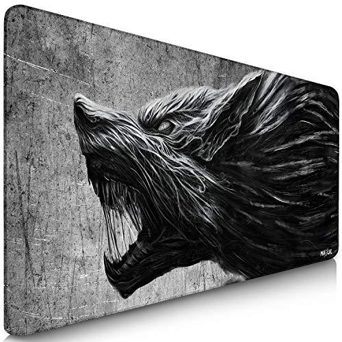 Sidorenko MAXLVL - Tappetino per mouse XXL da gioco, 900 x 400 mm, bordi senza frange, antiscivolo, XXL, tappetino da scrivania, superficie speciale migliorata, colore grigio