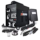 ZESUPER 160 MIG Welder IGBT DC Inverter Welding Machine Flux Core Wire Gasless Automatic Feed Welder Free Mask 110V