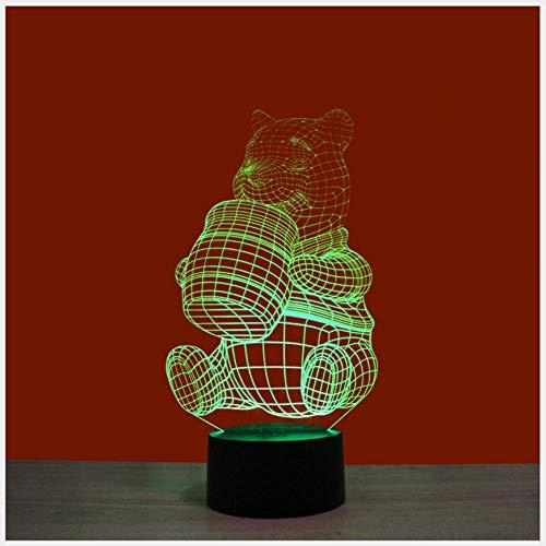 Liefde om te eten Honing Beer Kleurrijke 3D Nachtlampje USB Interface Creatieve Visuele Licht Touch Art Licht Kerstcadeaus voor Kinderen