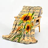 BOOPBEEP Sunflower Blanket- Music Sunflower Throw Blankets- Comfy Throw Blanket for Couch Bed Sofa Bedroom Living Room Study Room,50x40 Inch Super Soft Blanket Best Friend Blankets for Women