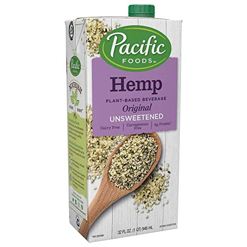 Pacific Foods Hemp Original Unsweetened Plant-Based Beverage, 32oz, 12-pack Keto Friendly