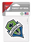 """Made and Designed by WinCraft. Size is 4"""" x 4"""" Screen Printed on the Front is a Sounders logo. 3 Year Outdoor rating. Perfect for a car."""