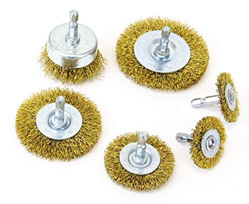 MIBRO 971531 General Purpose Brass Coated Coarse Wire Wheel and Cup Brush Set with 1/4