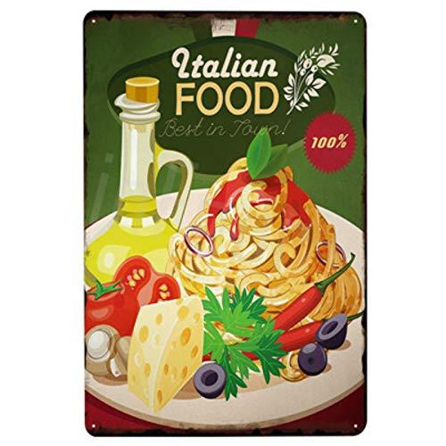 nobrand Italian Food Metal Plate Tin Sign Plaque Vintage Decor Metal Sign Metal Poster Home Beer Pub Restaurant Decoration Vintage Sign A1 12x8inch