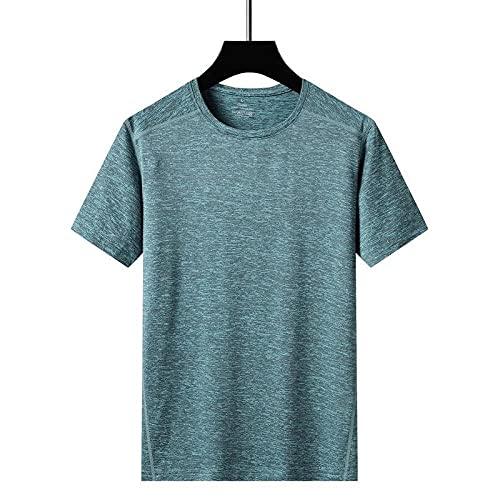 DamaiOpeningcs Camiseta de manga corta para entrenamiento de gimnasio, de seda de hielo para hombre y exterior, de sección delgada, casual, deportes, vestido rápido, verde claro, 2XL