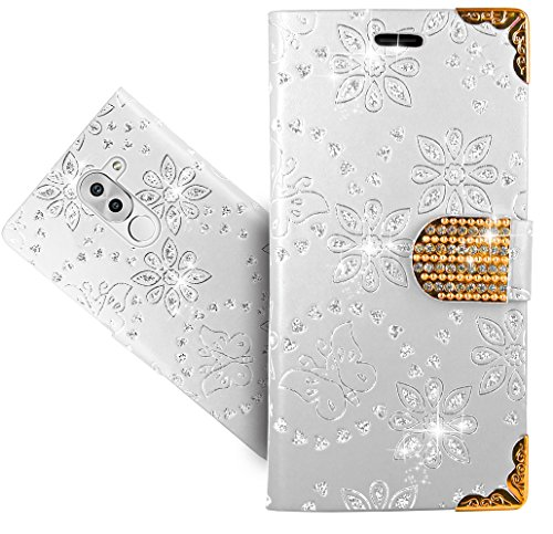Huawei Honor 6X Handy Tasche, FoneExpert® Bling Luxus Diamant Wallet Hülle Flip Cover Hüllen Etui Hülle Ledertasche Lederhülle Schutzhülle Für Huawei Honor 6X