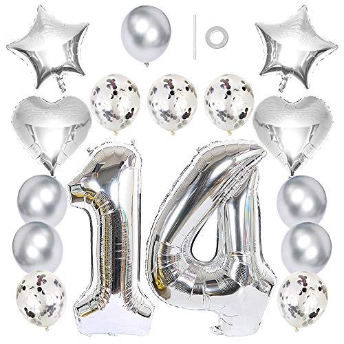 Ceqiny Globo 40' número 14 globo 18' forma corazón y estrella globo látex lentejuelas 12 pulgadas para fiesta de cumpleaños boda...