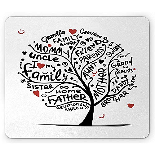 Alfombrilla de ratón de árbol genealógico, Dibujo caligráfico de Estilo Doodle con emoticones y Corazones Alfombrilla de Goma Antideslizante