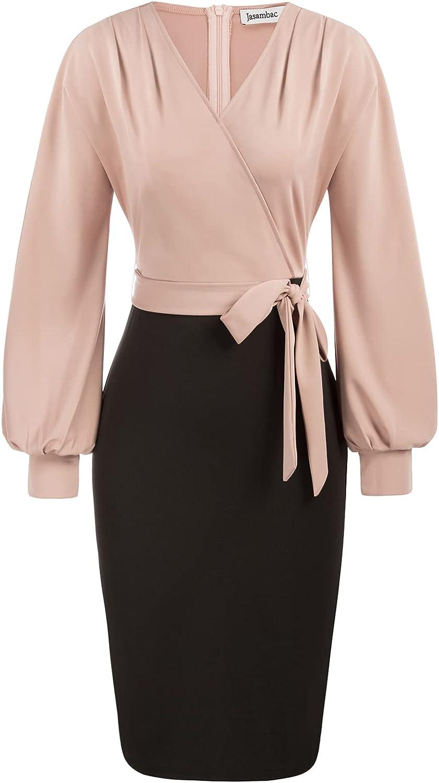 JASAMBAC Sheath Dresses for Women Colorblock C Las Vegas Mall Neck Sleeveless Sale SALE% OFF V