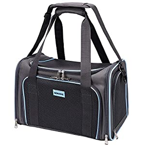 SERCOVE Travel Cat Carriers Airline Approved Pet Carrier Soft Sided Collapsible Breathable Small Dog Carrier Bag for 20Lbs Kitten Puppy Medium Dogs (Large, Grey)