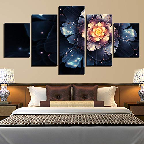 Chuixiaoxiao1 Modern Canvas Prints 5 Piece Wall Art Blooming flowers Home Decoration Painting Printed on Canvas for Bedroom Living Room Bathroom Office Home Decoration