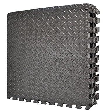 Wacces 24 x 24 inch Multi-Purpose Puzzle EVA Floor Interlocking Foam Exercise Mat Tiles - Black