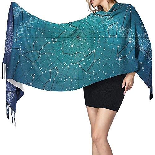 YINYINYIN. Cashmere scarf Sternbilder Nordhimmel Karte lange Decke Schal für Frauen, Mode Quaste Schals Wraps Schal, weicher Kaschmir Gefühl warmer Winter