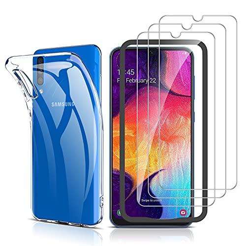 laxikoo Hülle mit Panzerglas für Samsung Galaxy A50, [1 Handyhülle + 3 Panzerglas] mit Positionierhilfe Blasenfrei 9H Härte Schutzfolie Transparent Ultra Dünn Schutzhülle Weiche TPU Silikon Case Cover
