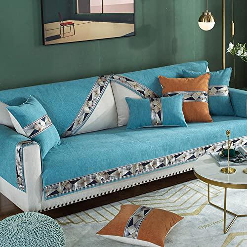Fsogasilttlv Funda de sofá Cubiertas Azul Agua 90 * 120 cm, cojín de sofá Universal Four Seasons, Toalla de sofá Respaldo Antideslizante para Sala de Estar