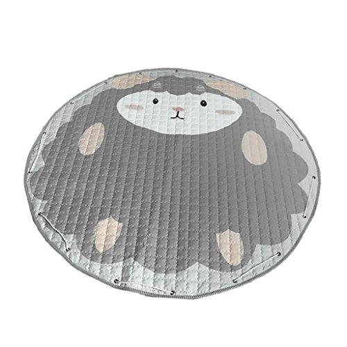 F Fityle Krabbeldecke rund 150 cm Kinderteppich Aufräumsack Spieldecke Spielmatte Krabbelmatte - Graue Schafe