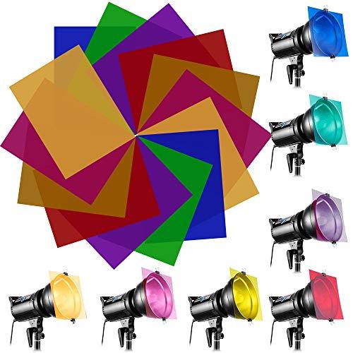 EMAGEREN 14 Piezas Filtros de Colores para Luces Gelatina de Colores Transparente Filtros Fotográficos de Plástico Filtro de Luz de Gel para Flash Estroboscópico/Focos/Cámara - 7 Colores, 22 * 28cm