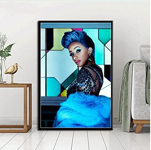 zhangdiandian Poster Cartel Moda Hip Hop Música Estrella Rapero Cardi B Arte Decoración para el hogar Sala de Estar Sofá Decoración de la Pared Imagen Lienzo Pintura 40 × 60Cm Sin Marco