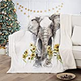 Elephant Sunflower Blanket Sherpa Fleece Throw Blanket for Women Gift Elephant Gifts for Women Men Girls Adults All Seasons Super Soft Cozy Plush Throws Blanket for Couch Sofa Bed Office 50' x60