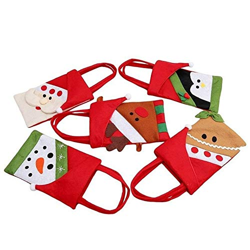 QYLJX 5 pcs Bolsa de Dulces NavideñOs, Santa Claus Elk MuñEco de Nieve Penguin Bear Gift Bag, Puede Usarse para Transportar Manzana, Dulces, Bocadillos Y Regalos