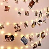 ibello catena luminosa luci per foto striscia in rame 100led 10 metri 20 chiodi 60 mollette trasparente clip per foto polaroid luce bianca calda decorative per camera letto muro o compleanno