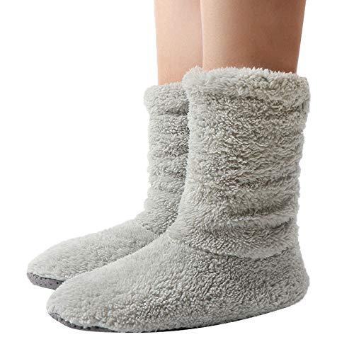 wefwef grau rosa Indoor Floor Schuhe Home Rutschschuhe Damen Warm Winter Furry Slides Coral Fleece Room Slipper Indoor Socke Schuhe