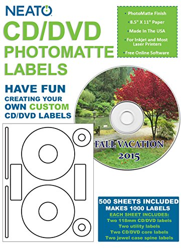 Neato CD/DVD PhotoMatte Labels – 500 Sheets – Makes 1000 Labels Total