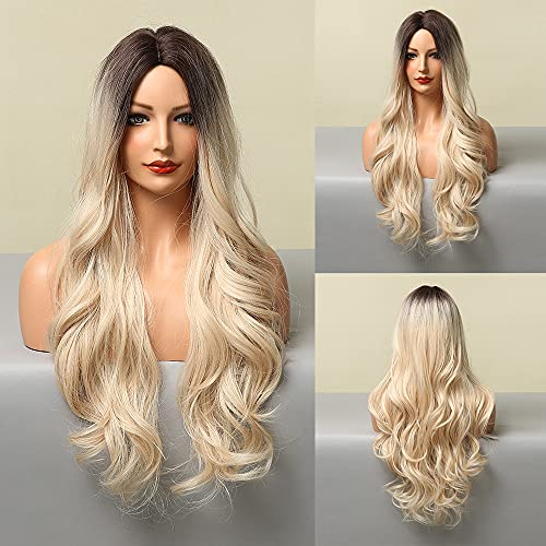 HAIRCUBE Parrucche ricci lunghi Parrucche ombre naturali Parrucche da marrone scuro a bianche Parrucche sintetiche in fibra resistente al calore per le donne