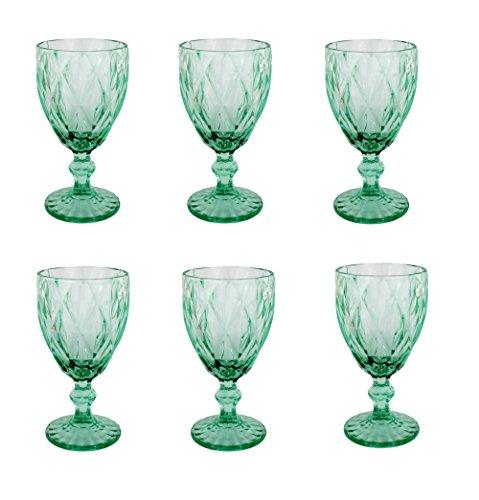 Vintage 6 Teile Set Rombus König Weinglas Glas Gläser Weingläser Wasserglas Longdrinkglas (Weinglas türkis)