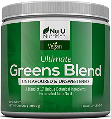 Super Greens Powder - 17 Superfoods Powder - 300g 60 Servings - Vitamin & Mineral Rich Formula - No Artificial Ingredients or Maltodextrin - Vegan & Vegetarian Friendly - Best Value - Made in The UK