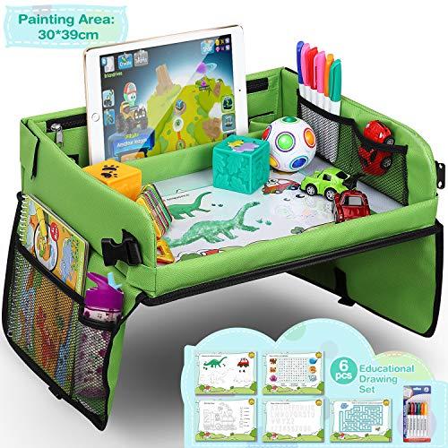 Vassoio di Viaggio per Auto da Toddler, Lenbest Travel Snack e Play Tray da Viaggio, Support per Bambini - Auto, Vassoio, Passeggino (Verde) - Può Disegnare Sulla Parte Superiore
