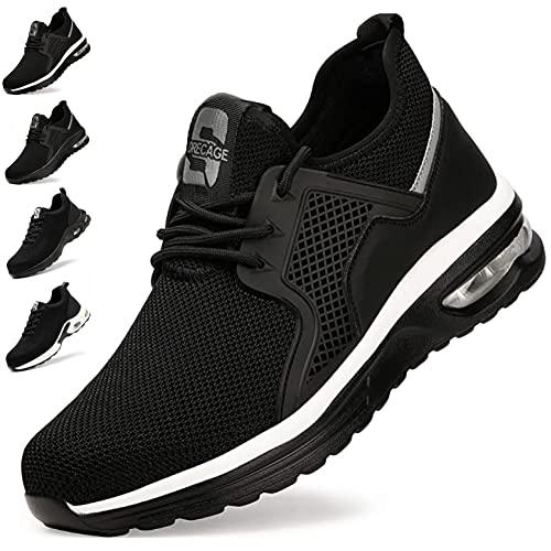 Chaussure de Securité Homme Femme Embout Acier Protection Chaussures de Travail Léger Respirante Baskets de Sécurité Coussin d'air Unisexes