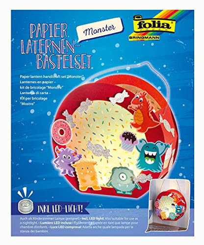 folia 68104 - Laternen - Bastelset, Monster, inklusive Laternenstab und LED-Licht