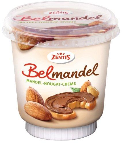 Zentis Belmandel Mandel-Nougat-Creme, 12er Pack (12 x 400 g Becher)