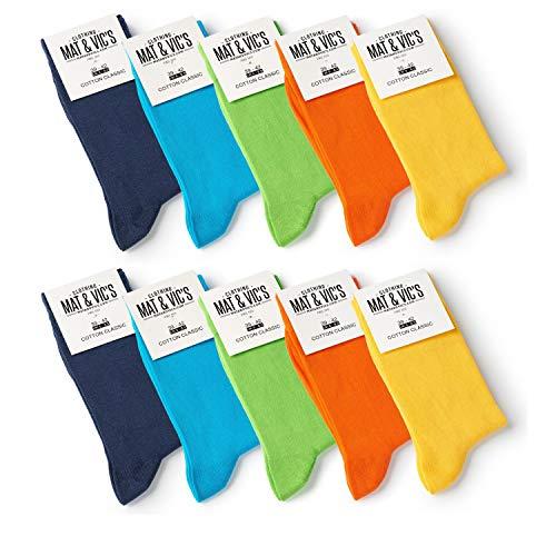 10 Paar Socken von Mat und Vic's für Sie & Ihn - Cotton classic bequem ohne drückende Naht - angenehmer Komfort-B& - OEKO-TEX Standard 100 (43-46, Trend Colors) 43-46