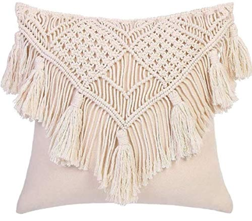OMG-Deal 2 fundas de almohada/manta de 40,6 x 40,6 cm, funda de cojín de macramé tejida para cama, sofá, banco, coche, decoración del hogar, fundas de almohada cuadradas con borlas