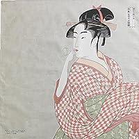 隅田川 48cm チーフ 綿100% お弁当包みに最適サイズ (ビードロを吹く女 ウスグレー)