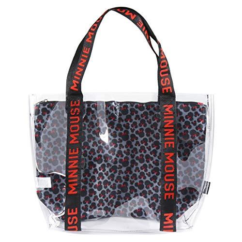 Cerdá Unisex-Kinder 2100002899 Transparente Strandtasche mit Innenfach mit Minnie Mouse-Aufdruck, Rosa, Grande