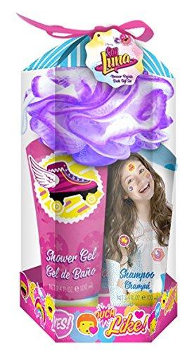 Disney Soy Luna Bade-Set, 4teilig bestehend aus Duschgel (100 ml), Shampoo (100 ml), Bodylotion (100 ml) und Blumen-Schwamm