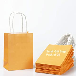 Small Gift Bags Mini Orange Paper Bags with Handles Party Favours Bags 6x4.3x2.4 inch for Wedding Birthday Baby Shower Rec...