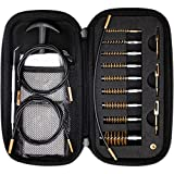 ProCase Gun Cleaning Kit for .17 .22/.223/5.56MM .243 .280 .30 .357/9MM .40 .45 12GA, Handgun and Rifle Bristle Bore Brushes, Slotted Tips and Coated Cleaning Cables in Zippered Compact Portable Case