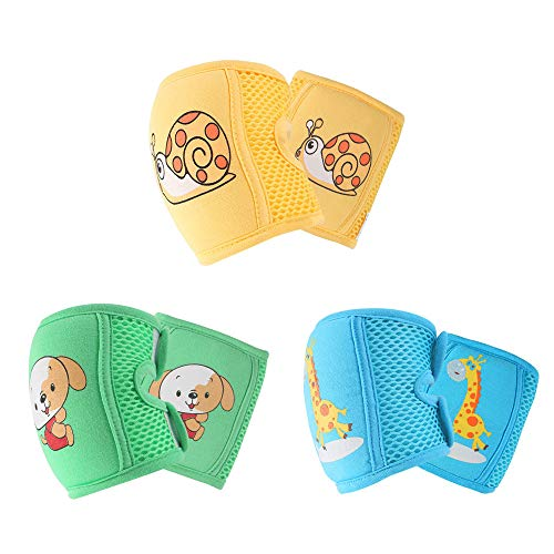 NASHRIO Baby Knee Pads for Crawling (3 Pairs), Anti-Slip and Protect Infants & Toddlers Knees, Elbows and Legs. Adjustable Straps and Breathable 3D Mesh for Boys and Girls (Unisex)
