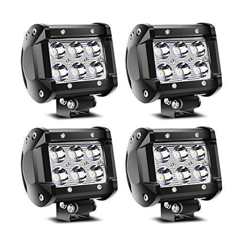 TURBO SII 4Pcs 4Inch 18W LED Pods Work Light Spot Beam Super Bright Offroad Driving Fog Lights Waterproof IP67 LED Cubes for Truck Boat ATV UTV 12-24V